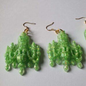 Lime Lite Glitter Chandelier Earrings