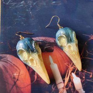 Small Raven Skull Earrings