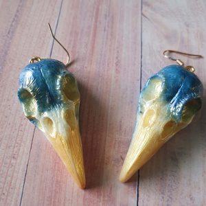 Large Raven Skull Earrings